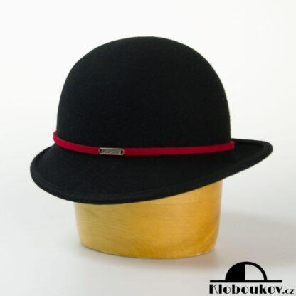 Dámský společenský klobouk s páskem - černý