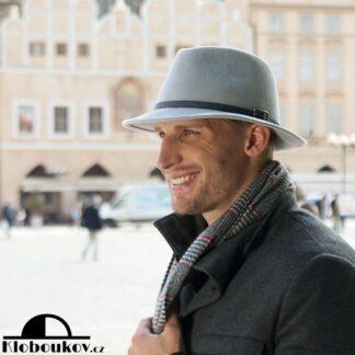 Pánský luxusní šedý zámišový klobouk
