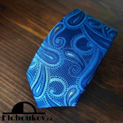 Kravata k obleku modrá/žlutá