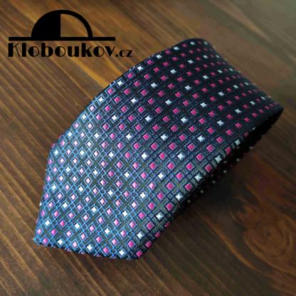 Kravata k obleku modrá/růžová/bílá