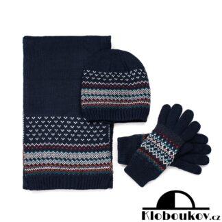 Zimní sada pro muže čepice, šála, rukavice v modré barvě