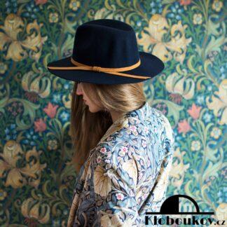 Dámský modrý klobouk Fedora