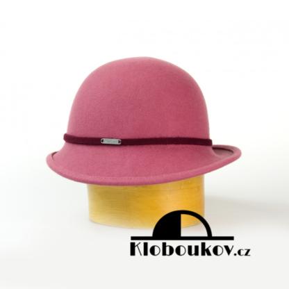 Dámský společenský klobouk s páskem - růžový
