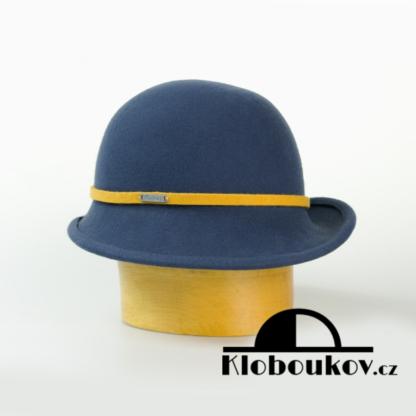 Dámský společenský klobouk s páskem - petrolejový