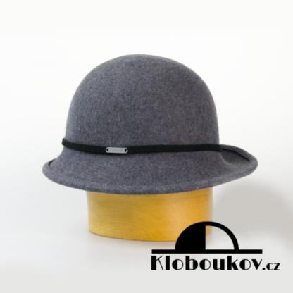 Dámský společenský klobouk s páskem - šedý