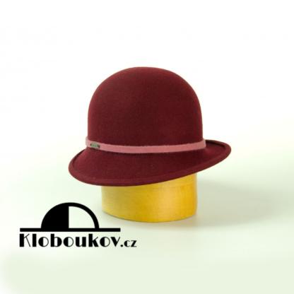Dámský společenský klobouk s páskem - vínový