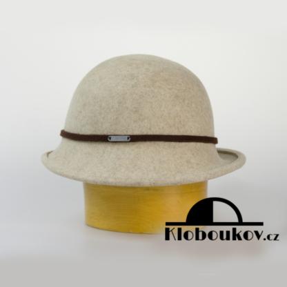 Dámský společenský klobouk s páskem - béžový